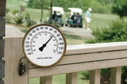 Plymouth 3 1/2in Brass Finish Thermometer with Wall Bracket (Indoor or Outdoor) - UCN5494