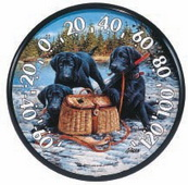 Leicester 12.5in Black Lab Puppies Thermometer by Jim Killen (Indoor or Outdoor) - UCN5332