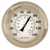 Jenna 8in Brushed Nickel Porthole Thermometer (Indoor or Outdoor) - UCN5293