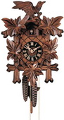 Authentic German Neustadt 21in Leaves & Bird 1 Day Traditional Black Forest Cuckoo Clock - NYC1431