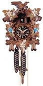 14in Leaves & Bird Hand Painted Flowers German Black Forest Cuckoo Clock 1 Day Traditional - NYC1503