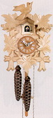 14in Leaves & Bird German Black Forest Cuckoo Clock 1 Day Traditional - NYC1533