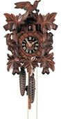 Authentic German Neustadt 17in Leaves & Bird 1 Day Traditional Black Forest Cuckoo Clock - NYC1497