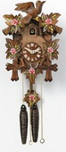 14in Leaves & Birds & Hand Painted Roses German Black Forest Cuckoo Clock 1 Day - NVC6296