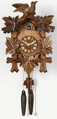 13in Leaves & Birds German Black Forest Cuckoo Clock 1 Day Traditional - NVC6251