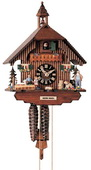 Authentic German Neustadt 16in Boy & Girl & Dog 1 Day Chalet Black Forest Cuckoo Clock - NYC1479
