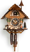 Authentic German Neustadt 16in Moving Bell Ringer & Dog 1 Day Black Forest Cuckoo Clock - NYC1410