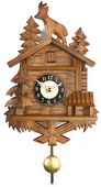 9.5in Goat & Trees German Black Forest Clock Quartz Chalet - NVC6377