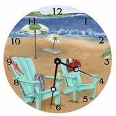 PLS Anna 10in Wall Clock, Skinny Dipping Round Clock - PLS5156