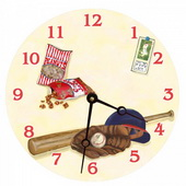 PLS Andrew 10in Wall Clock, Play Ball Round Clock - PLS5177