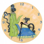 PLS Ashley 10in Wall Clock, Whimsical Teapots Round Clock - PLS5171