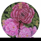 Andrea 10in Wall Clock, Peonies Round Clock - PLS5180