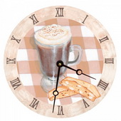 PLS Alexis 10in Wall Clock, Cappuccino Round Clock - PLS5198