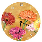 PLS Alondra 10in Wall Clock, Gerber Daisy Round Clock - PLS5207