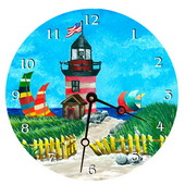 PLS Alyssa 10in Wall Clock, Light House Round Clock - PLS5210