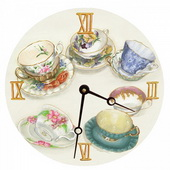 PLS Anthony 10in Wall Clock, Tea Cups Round Clock - PLS5159