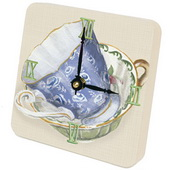 PLS James Tea Cups Blue Desktop Clock - PLS5300