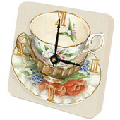 PLS Jasmine Tea Cups Orange Desktop Clock - PLS5297
