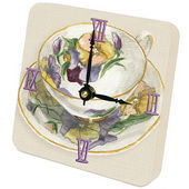 PLS Jayden Tea Cups Purple Desktop Clock - PLS5291