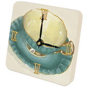 PLS Jazmin Tea Cups Teal Desktop Clock - PLS5288