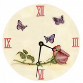 PLS Angelina 10in Wall Clock, Rose Round Clock - PLS5153
