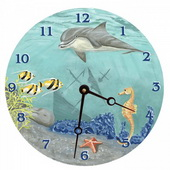 PLS Ariana 10in Wall Clock, Under the Sea Round Clock - PLS5165