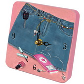 PLS Damian Denim Blues Pink Desktop Clock - PLS5381