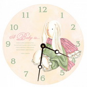 PLS Alexa 10in Wall Clock, Baby Bunny Round Clock - PLS5189