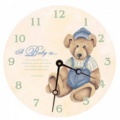 Alex 10in Wall Clock, Baby Bear Round Clock - PLS5186