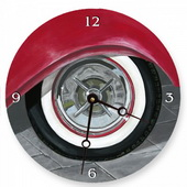 PLS Audrey 10in Wall Clock, White Wall Tire Round Clock - PLS5174