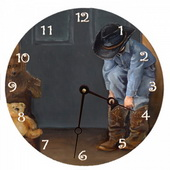 PLS Allison 10in Wall Clock, Cowboy Fun Round Clock - PLS5204