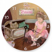 PLS Angel 10in Wall Clock, Pretty in Pink Round Clock - PLS5147