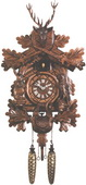 Authentic German Neustadt 21in Hunting & Rifles & Animals Quartz Black Forest Cuckoo Clock - NYC1422