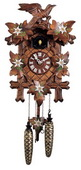 Authentic German Neustadt 19in Leaves & Bird Hand Painted Quartz Black Forest Cuckoo Clock - NYC1569