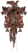 17.5in Leaves & Moving Feeding Birds German Black Forest Cuckoo Clock 1 Day Traditional - NYC1485