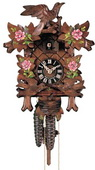 17.5in Leaves, Moving Birds & Hand Painted Roses German Black Forest Cuckoo Clock 1 Day  - NYC1470
