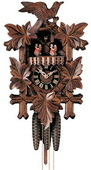 19in Leaves & Bird & Music German Black Forest Cuckoo Clock 1 Day Traditional Musical - NYC1365