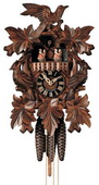 19in Leaves & Bird & Music German Black Forest Cuckoo Clock 1 Day Traditional Musical - NYC1362