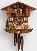 16in Moving Wood Chopper German Black Forest Cuckoo Clock 1 Day Musical Chalet - NYC1245