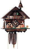Authentic German Neustadt 19in Moving Bell Ringer 1 Day Musical Black Forest Cuckoo Clock - NYC1302