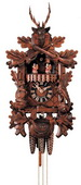 Authentic German Neustadt 22in Hunter & Live Animals 1 Day Musical Black Forest Cuckoo Clock
