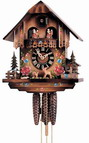 16in Beautiful flower house German Black Forest Cuckoo Clock 1 Day Musical - NYC1293