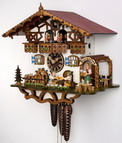 17in Moving Beer Drinkers & Daughter German Black Forest Cuckoo Clock 1 Day Musical Chalet - NYC1176