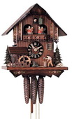17in Moving Woodchopper German Black Forest Cuckoo Clock 1 Day Musical - NYC1254