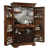 Howard Miller Hide a Bar Wooden Wine Cabinet in Americana Cherry Finish - CHM1254