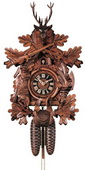 22in Hunter Style & Animals German Black Forest Cuckoo Clock 8 Day Traditional - NYC1353