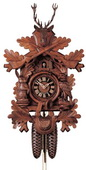 Authentic German Neustadt 25in Hunting Style & Rifles & Animals Black Forest Cuckoo Clock - NYC1344
