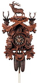 Authentic German Neustadt 25in Live Animal Hunter Style & 2 Heads 8 Day Black Forest Cuckoo Clock
