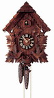 19in Leaves & Birds & Nest German Black Forest Cuckoo Clock 8 Day Traditional - NYC1368