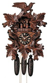 Authentic German Neustadt 21in Leaves & Bird 8 Day Musical Black Forest Cuckoo Clock - NYC1203